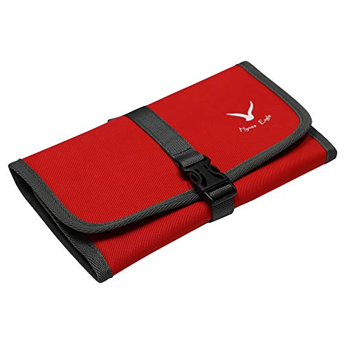 Hynes Eagle Jewelry Roll Organizer Bag for Necklace, Earrings, Rings, Bracelet Red