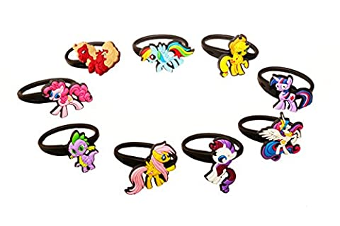 AVIRGO 9 pcs Releasable Ponytail Holder Elastic Rubber Stretchable No-slip Hair Tie Set # 87-6