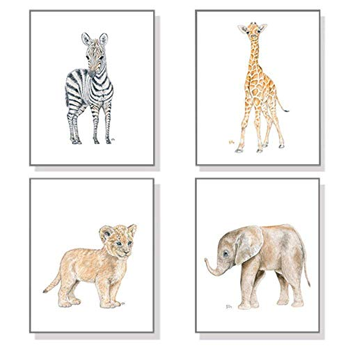 Safari Nursery Prints Set of 4 Unframed Original Baby Animal Watercolor Art Signed By Artist Pick Your Animals Size and Orientation
