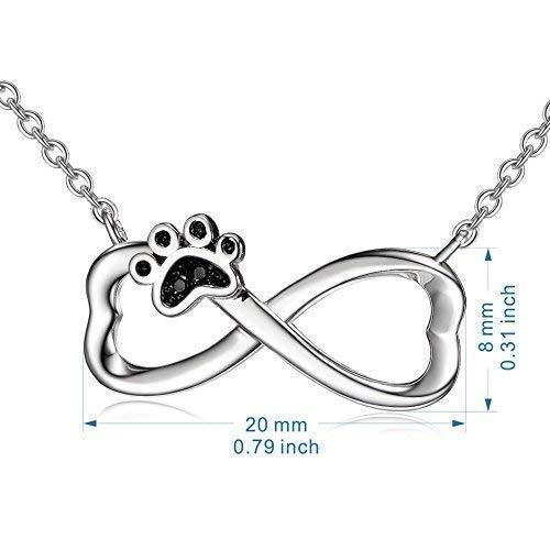 68c35c3307c4 Plata de Ley 925 perro cachorro Paw infinito colgante collar con cadena de  18