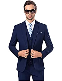 Mens Solid 3-Piece Suit Slim Fit Notch Lapel One Button Tuxedo Blazer Jacket Pants Vest Set