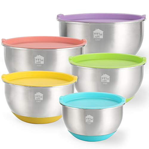 - Mixing Bowls Set of 5, Wildone Stainless Steel Nesting Mixing Bowls with Lids, Non-Slip Silicone Bottom, for Mixing & Beating, Stackable Storage (1.5, 2.0, 3.0, 4.0, 5.0 qt)
