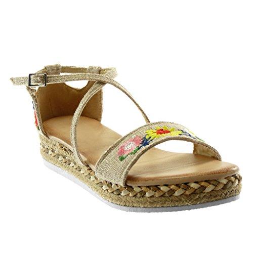 Chaussures De Mode Des Femmes Angkorly Sandales Espadrilles - Plateforme - Bride À La Cheville - Brodés - Fleurs - Lanières Croisées Plate-forme De Coin 3,5 Cm Beige