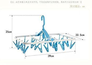Zebratown 360 ° Rotating Foldable Windbreak Hangers for Clothes Sock 20 Racks (Blue)