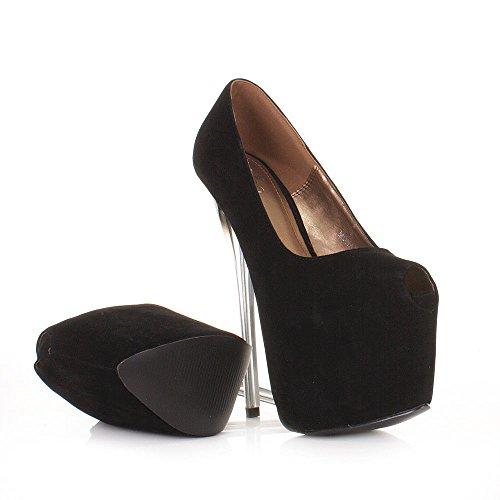 Zapatos Estilete Tacones Las 41 Señoras Pie La Zapatillas Altos Furtivamente De Del 36 Plataforma Dedo Mujeres Mirar Negro Ante Corte Tamaño Partido fvnO5Svz