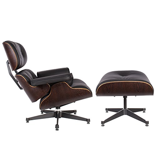lassic Plywood Design Replica Style Wenge with Premium High Grade Black PU Leather Lounge Chair & Ottoman (Eames Lounge Ottoman)