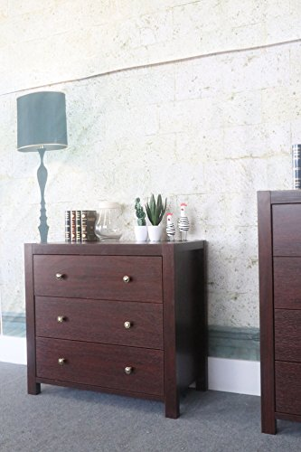 Eltra K Series Smart Home Brass Knobs 3 Drawers Chest Dresser (3 Drawers, Mahogany) Small Mahogany 3 Drawer Chest