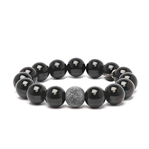 Women's Onyx Dark Rhodium Sterling Silver Bead 12mm Stretch Bracelet