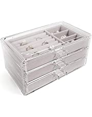 V-HANVER Jewelry Boxes for Women with 3 Drawers, Velvet Jewelry Organizer for Earring Bangle Bracelet Necklace and Rings Storage & Beige …