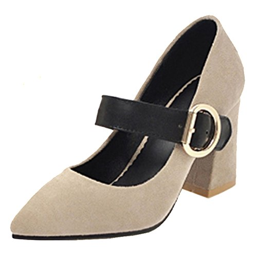 Coolcept Women Vintage Block Heel Court Shoes Strap Beige IlKl2E