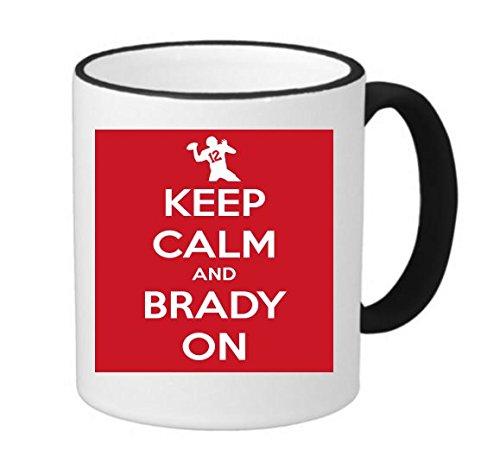 (Keep Calm and Brady On Patriots Super Bowl 11 ounce Black Rim/Handle Ringer Ceramic Coffee Mug Tea Cup by Debbie's Designs)