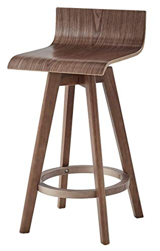 - Ellery Trendy Mid-Century Modern Wooden Curved Low Back Swivel Square Seat Counter or Bar Stools, Set of 2 (Walnut, 24