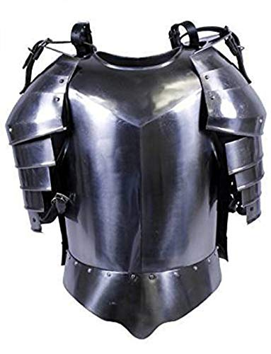 (AnNafi Medieval Shoulder Guard Steel Breastplate| Antique Armor Body Guard Knight Warrior| Wearable One Size Fits All Silver)