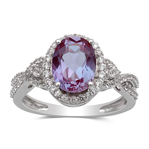 Jewelili Sterling Silver 9X7mm Oval Alexandrite and Round Created White Sapphire Ring, Size 7