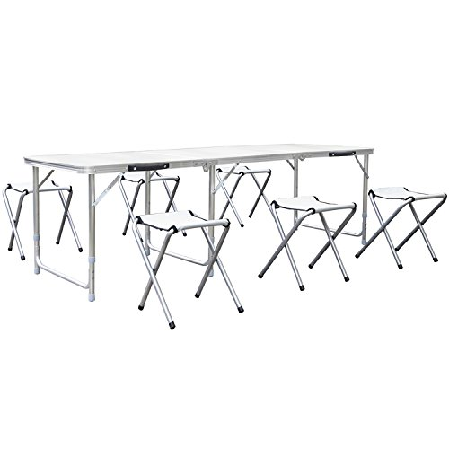 HOMFA 1.8M 6FT Garden Camping Tables with 6 Chairs Adjustable Folding Portable Tables for Party BBQ White