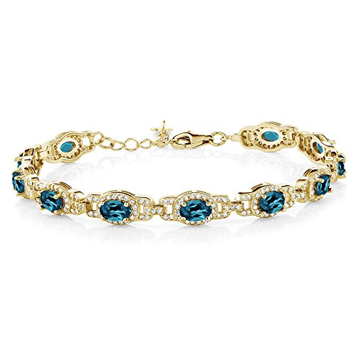 (Gem Stone King 9.65 Ct Oval London Blue Topaz 18K Yellow Gold Plated Silver 7 Inch Bracelet With 1 Inch Extender )