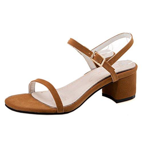 COOLCEPT Mujer Moda Correa de Tobillo Sandalias Medio Tacon Ancho Punta Abierta Slingback Zapatos Tamano Amarillo-Marron