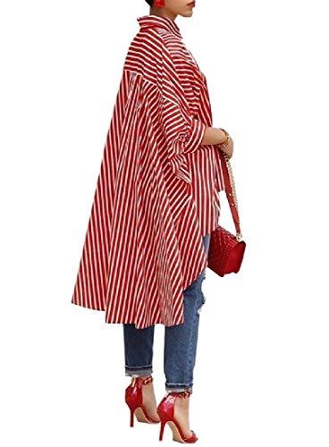 Rosso Coolred donne Svago Alto Manicotto Vestito Casuale Del Plus Basso Di Mezzo size Striscia 4qIOwxTIt