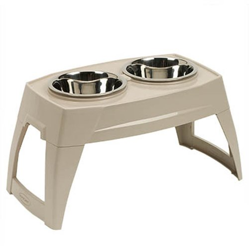 Suncast Elevated Dog Bowls - Double Food Bowls - Elevated Adjustable Feeding Station for Large Dogs - Two Bowls for Food and Water - Taupe by Suncast