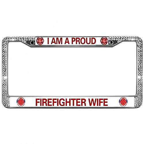 Meeingbing Bling Rhinestone Crystal License Plate Chrome Cover Proud Firefighter Wife License Plate Frame Free Screw Caps Fireman Helmet Shiny Rhinestone Car Licenses Plate Cover ()