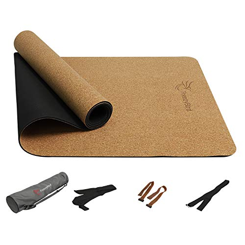 FrenzyBird 5mm Natural Cork Yoga Mat with Oxford Mat Bag and Strap, Non-Slip, Double-Sided,Antimicrobial,Free of PVC and Other Harmful Chemicals, for Yoga,Hot Yoga and Pilates ...
