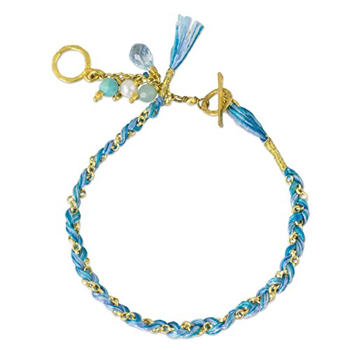 NOVICA Cultured Freshwater Pearl Yellow Gold Plated Cotton Bracelet with Stones, Blue is for Peace'