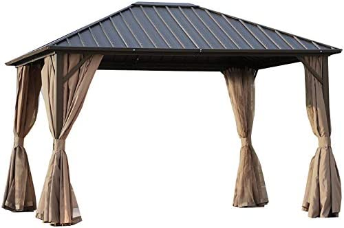 Outsunny 10 x 12 Hardtop Gazebo with Netting Curtains and Sidewalls, Steel Top and Frame, Brown and Black