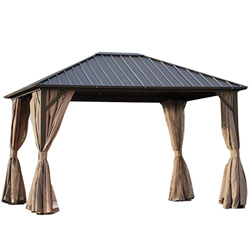 Outsunny 10' x 12' Hardtop Gazebo with Netting Curtains and Sidewalls, Steel Top and Frame, Brown and Black