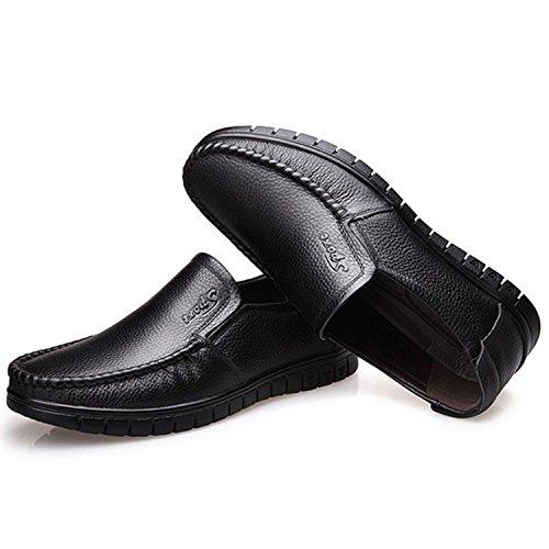 Mocasines Suave de la los Primavera de Cuero Transpirable de Masculinos Mocasin Genuino Ocasionales Zapato Cuero 38 Hombres Zapatos de de conduccion 2018 TOOGOO Negro Plano Amarillo dqwAvtd