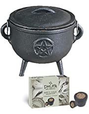 Cast Iron Cauldron with Lid and Carry Handle for Spells, Smudging, Ritual & Blessings | Includes 6 Free Incense Smudge Cups