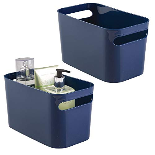 "mDesign Deep Plastic Bathroom Vanity Storage Bin with Handles - Organizer for Hand Soap, Body Wash, Shampoo, Lotion, Conditioner, Hand Towel, Hair Brush, Mouthwash - 10"" Long, 2 Pack - Navy Blue"