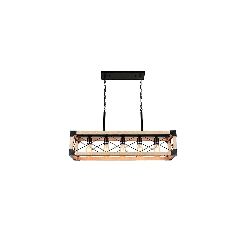 Airposta Kitchen Island Lighting, 5-Light Farmhouse Linear Chandeliers, Rustic Dining Room Light Fixture, Rectangle…