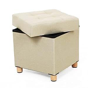 Songmics puff ba l plegable cuadrado taburete de for Puff cuadrados