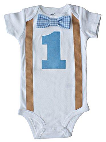 Baby Boys 1st Birthday Outfit - Blue Gingham/Khaki, Blue-white-khaki, 18M-Short -