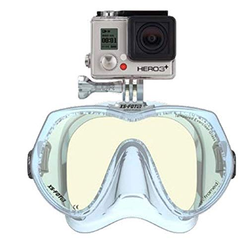Frameless Diving Mask for GoPro (Glacier Ice) - NEW - Real Frameless - Built-in Stainless Steel Camera Mount - Includes Neoprene Strap & Mounting Screw - GoMask - un[framed] by XS Foto (MA610GI) ()