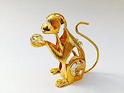 Monkey, 24k Gold Swarovski Crystal Free Standing Figurine
