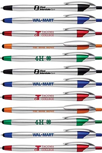 Personalized Ink Pens with Stylus - The Stream - Click action - Custom - Black writing - Printed Name pens - Imprinted with Your Logo/Message - FREE PERZONALIZATION - 12 Pens/Box (Assorted Colors)