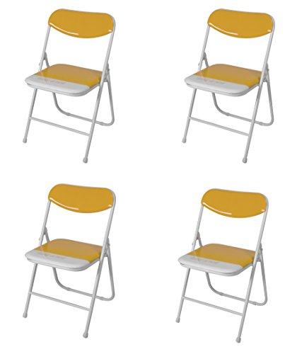 Due-home (Candy) Pack 4 sillas Plegables Estructura metálica y PVC Brillante 47x46x76 cm de Altura (Azul)