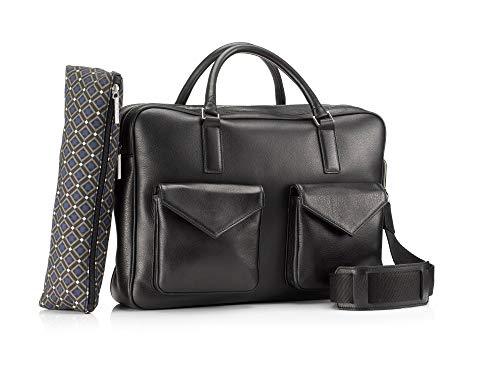 Mark Giusti Milano Double Zip Bag with Two Pockets (Black)