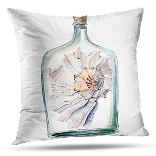 threetothree Watercolor-Sea-Life Throw Pillow Covers,Watercolor Sea Shells Can Wallpaper Fabric Textile Cover Double-Sided 18 x 18 inch Decorative Pillowcase Cushion for Sofa Home