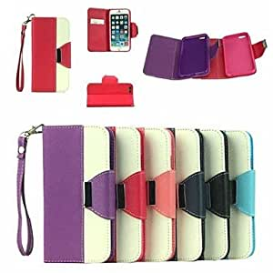 HaleyL-Leather Wallet Case Flip Leather Stand Cover with Card Holder for iPhone 6 Plus (Assorted Colors),Rose