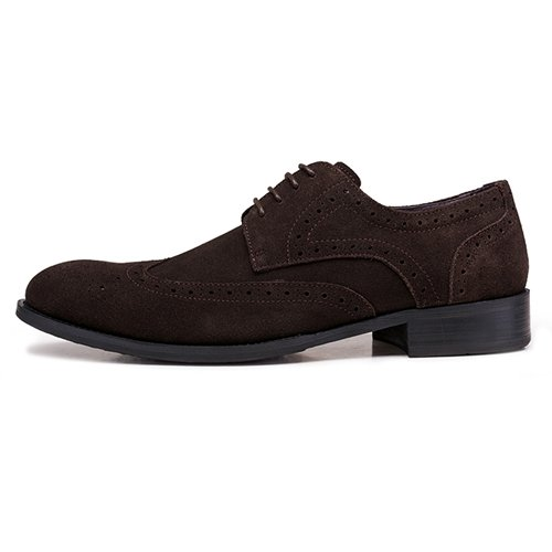 LHLWDGG.K Zapatos De Cuero Tallados A Mano De Los Hombres De Cuero Zapatos De Boda De Los Hombres Del Vestido Formal De Punta Redonda, Chocolate, 10 10|Chocolate