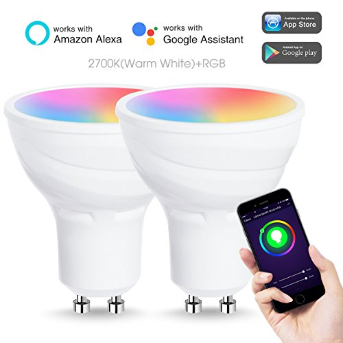 LOHAS Smart LED Bulbs, Dimmable GU10 LED Wifi Light Bulb, RGB + Warm White Color Changing LED, Remote Control MR16 Light Bulbs, No Hub Required, Compatible with Alexa and Google Assistant, 2 Pack