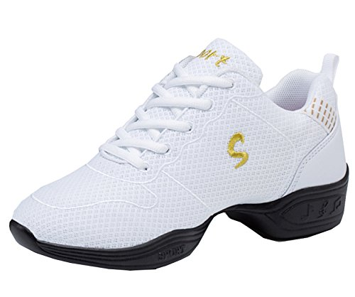 VECJUNIA Ladies Summer Practice Breathable Mesh Sneakers Lace-up Mesh Uppers Dance Shoes White 1qUWJW