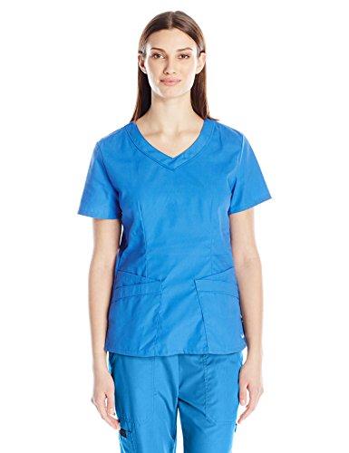 (Landau Women's Premium 4-Pocket Modern Fit Rounded V-Neck Scrub Top, Royal Blue, 2X-Large)