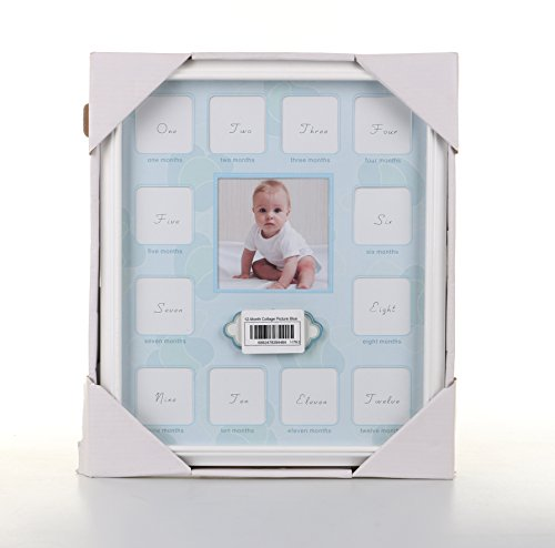 Baby Growth Collage|Prime Grade Wood and Glass Baby 12 Month Timeline Picture Frame for Baby's First Year Keepsake|Securely Hold 13 Photos of Memory and Moment|White& - Frames Australia Glass