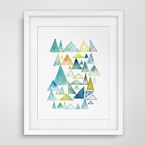 Amazon.com: Watercolor Abstracts Whimsical Forest Triangles Sway Art ...