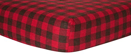 Plaid Sheet Fitted - Trend Lab Crib Sheet, Brown and Red Buffalo Check