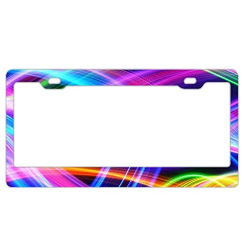 Tie Dye Lines License Plate Frame,Car Licenses Plate Covers for Black License Tag Aluminum Metal License Plate ()
