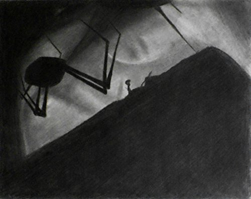 1 - 11x14 LIMBO - Charcoal Drawing and Illustration - Dark Gothic Fine Art - Original Video Game Art - Scary Macabre Black & White Drawing - Halloween Spider by enchantedchroma